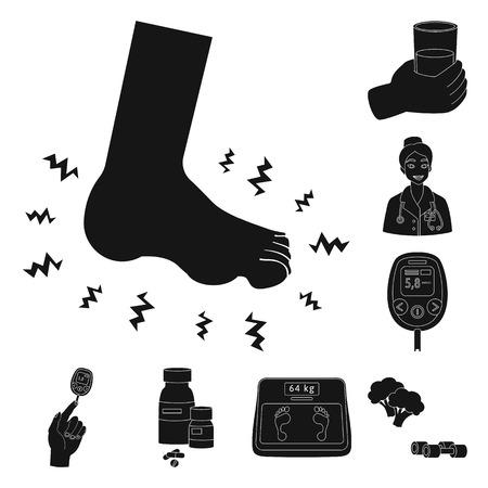 Vector illustration of healthcare and medicine sign. Collection of healthcare and diabetes stock vector illustration. Ilustração