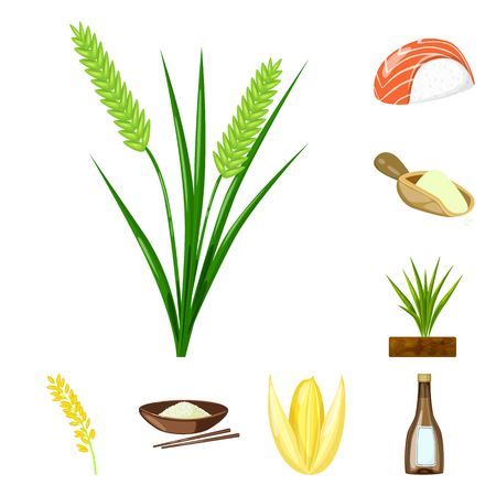 Isolated object of food and organic logo. Set of food and agricultural vector icon for stock.  イラスト・ベクター素材