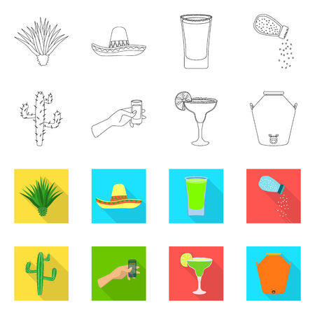 Vector illustration of cafe and Latin symbol. Set of cafe and national stock vector illustration.