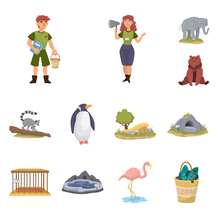 Isolated object of zoo  and park icon. Collection of zoo  and animal stock vector illustration. Illustration