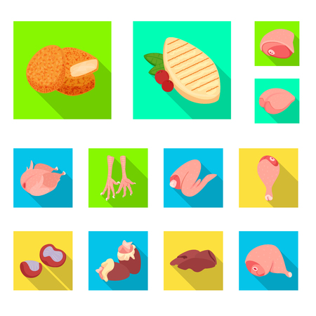 Isolated object of product and poultry icon. Set of product and agriculture    vector icon for stock.