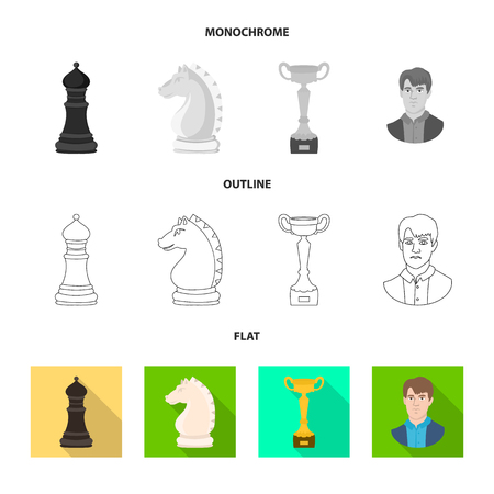 Isolated object of checkmate and thin logo. Collection of checkmate and target vector icon for stock.
