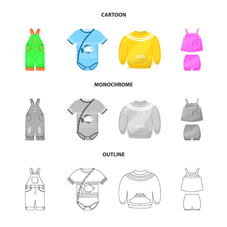 Vector illustration of fashion and garment sign. Set of fashion and cotton vector icon for stock.