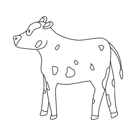 Isolated object of cow and heifer symbol. Set of cow and milk vector icon for stock.