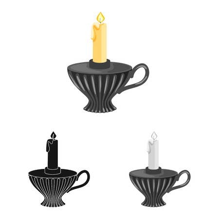 Vector design of candle and candlestick  icon. Collection of candle and retro vector icon for stock.