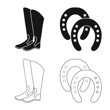 Isolated object of equipment and riding icon. Set of equipment and competition stock symbol for web. Illustration