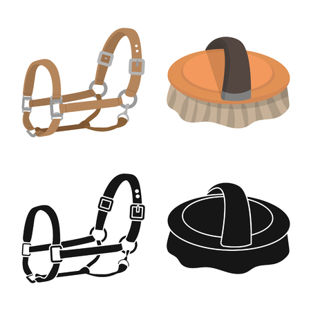 Vector illustration of equipment and riding icon. Set of equipment and competition stock symbol for web.