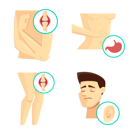 Vector design of pain and disease icon. Collection of pain and injury stock vector illustration. Standard-Bild - 122903005