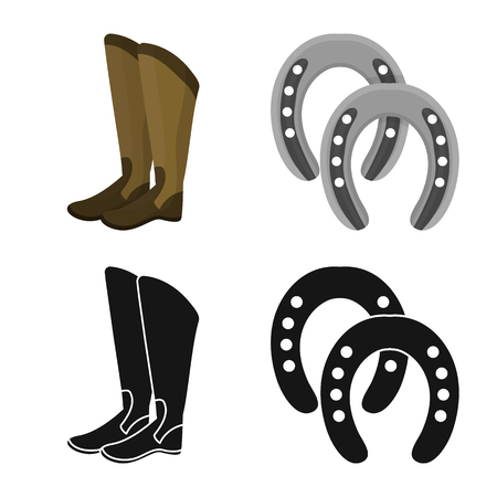 Vector illustration of equipment and riding logo. Set of equipment and competition vector icon for stock.