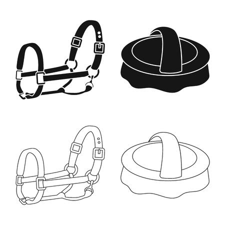 Vector illustration of equipment and riding logo. Collection of equipment and competition stock symbol for web. Illusztráció