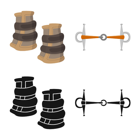 Vector illustration of equipment and riding icon. Set of equipment and competition vector icon for stock.