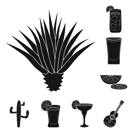 Isolated object of carnival and national icon. Collection of carnival and tequila stock symbol for web.