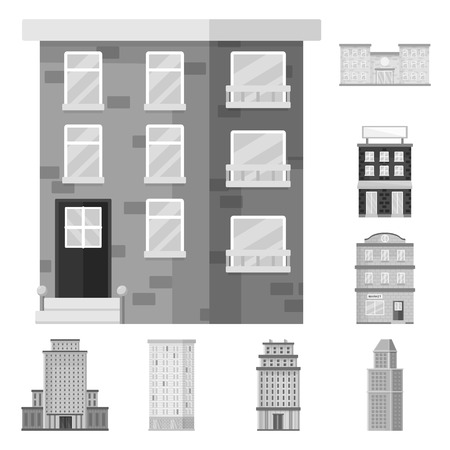 Isolated object of construction  and city icon. Collection of construction  and center vector icon for stock.