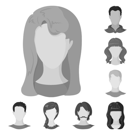 Vector design of character and profile icon. Set of character and dummy vector icon for stock. Illustration