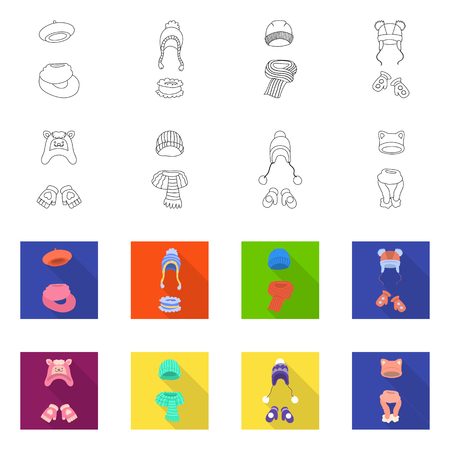 Isolated object of clothes  and texture symbol. Collection of clothes  and weather  vector icon for stock. 矢量图像