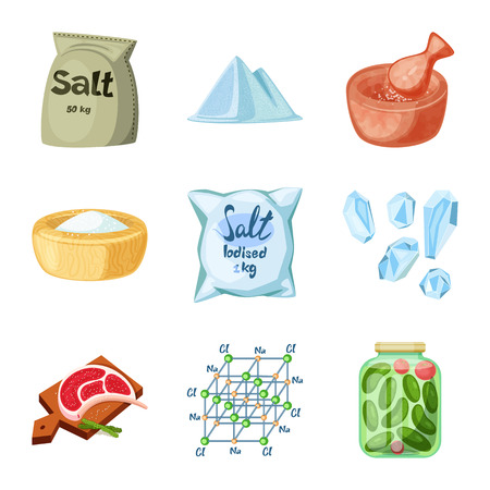 Vector illustration of salt and food symbol. Collection of salt and mineral stock vector illustration.