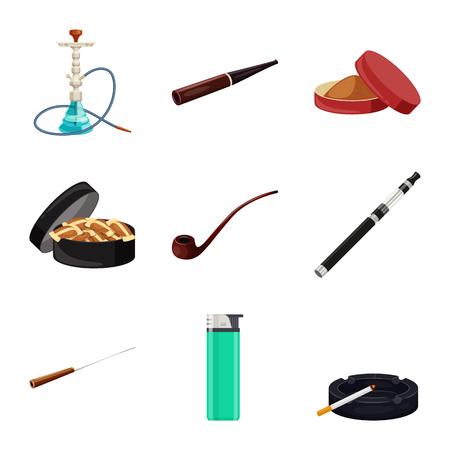 Disegno vettoriale dell'icona di sigaretta e tabacco. Insieme del simbolo di borsa della sigaretta e della nicotina per il web. Vettoriali