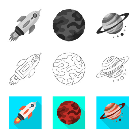 Vector illustration of astronomy and technology  icon. Set of astronomy and sky stock vector illustration. Illustration