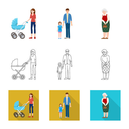 Isolated object of character and avatar logo. Collection of character and portrait vector icon for stock.