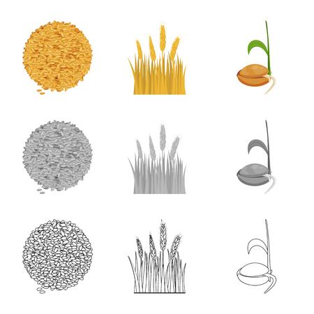 Disegno vettoriale di agricoltura e simbolo di allevamento. Raccolta di icona di vettore di agricoltura e pianta per stock.