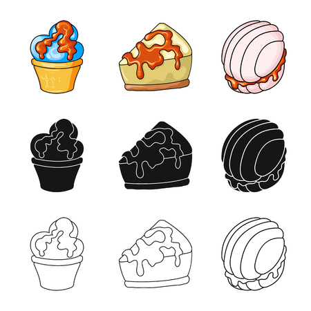 Vector design of confectionery and culinary icon. Collection of confectionery and product vector icon for stock. Векторная Иллюстрация