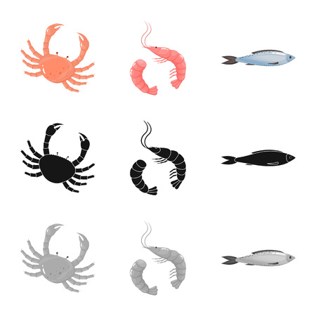 Vector design of fresh  and restaurant icon. Set of fresh  and marine   vector icon for stock.