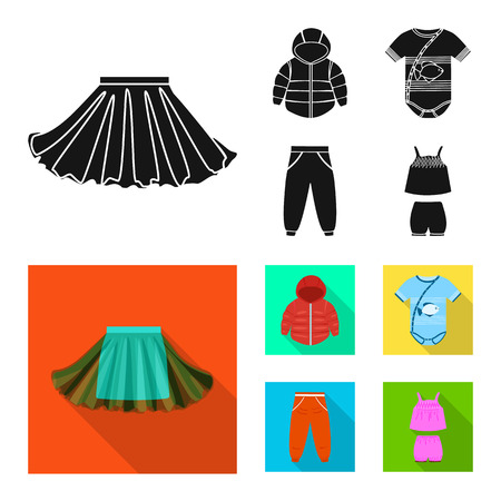 Isolated object of fashion and garment symbol. Set of fashion and cotton stock symbol for web.