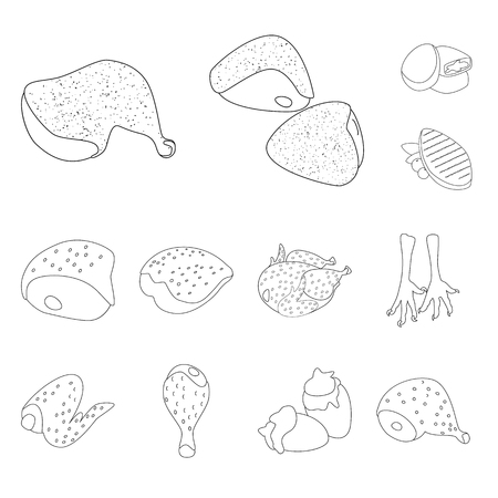 Isolated object of food and grilled icon. Collection of food and bird vector icon for stock.