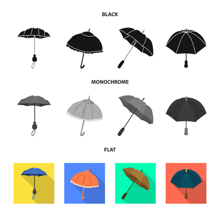 Vector design of protection and closed symbol. Set of protection and rainy vector icon for stock. Vectores