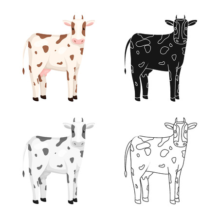 Vector illustration of cow and calf icon. Set of cow and milk stock vector illustration.