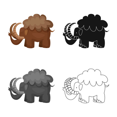 Vector design of mammoth  and animal sign. Set of mammoth  and prehistory  stock symbol for web.