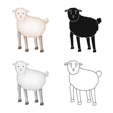 Vector illustration of sheep and anima logo. Set of sheep and lamb stock vector illustration. Çizim