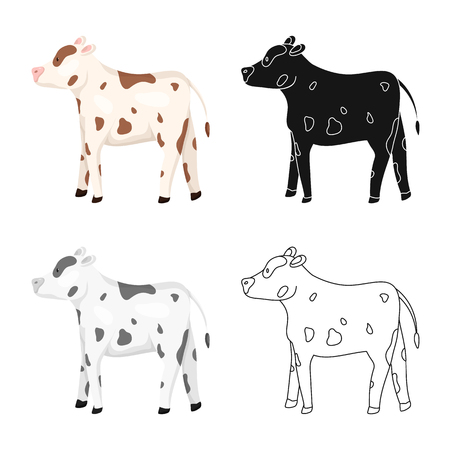 Vector illustration of cow and heifer sign. Collection of cow and milk stock symbol for web.  イラスト・ベクター素材