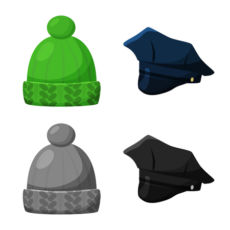Vector illustration of clothing and cap icon. Collection of clothing and beret vector icon for stock.