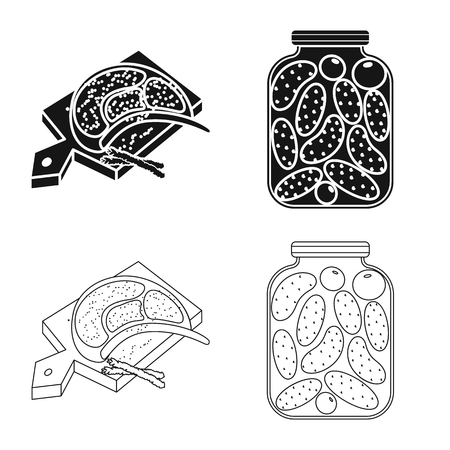 Vector illustration of cooking and sea logo. Collection of cooking and baking   stock vector illustration.
