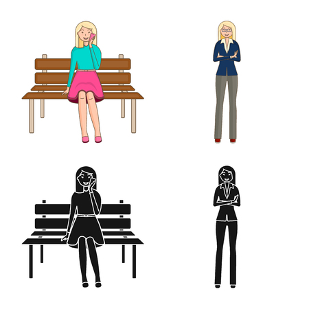 Isolated object of posture and mood icon. Set of posture and female stock vector illustration.