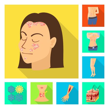 Vector design of dermatology and disease symbol. Set of dermatology and medical  stock symbol for web. Stock Illustratie