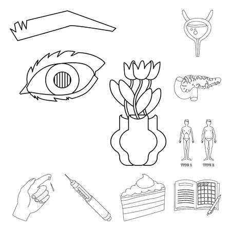 Vector design of mellitus and diabetes sign. Set of mellitus and diet stock vector illustration.