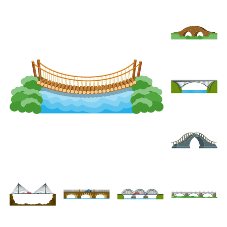 Vector illustration of bridgework and bridge sign. Set of bridgework and landmark stock vector illustration.