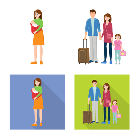 Isolated object of character and avatar  sign. Set of character and portrait stock symbol for web.
