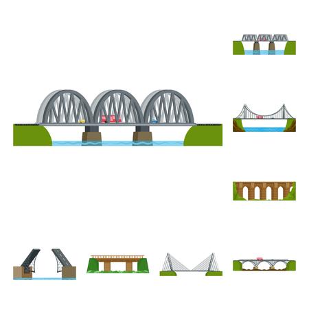 Vector design of bridgework and bridge logo. Set of bridgework and landmark stock vector illustration.