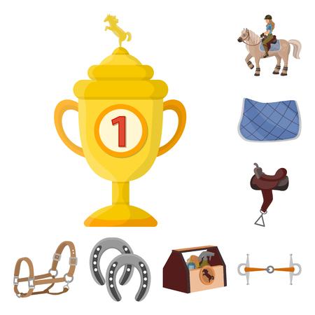 Vector design of horseback and equestrian icon. Collection of horseback and horse stock symbol for web.
