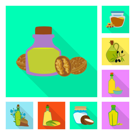 Vector design of bottle and glass  icon. Set of bottle and agriculture vector icon for stock. Ilustracja