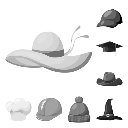 Vector illustration of hat and helmet sign. Collection of hat and profession stock symbol for web.