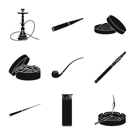 Ilustración de vector de símbolo anti y hábito. Conjunto de ilustración vectorial de stock anti y tabaco.