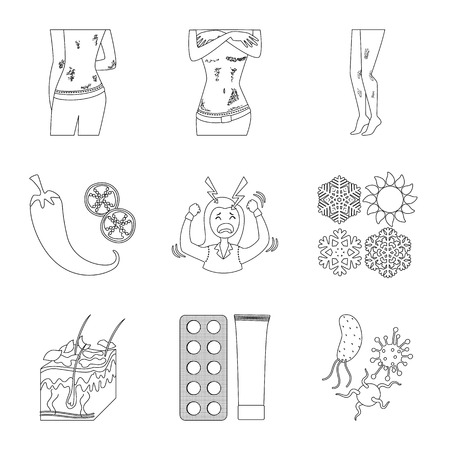 Isolated object of disease and healthcare symbol. Collection of disease and pain  vector icon for stock. Illustration