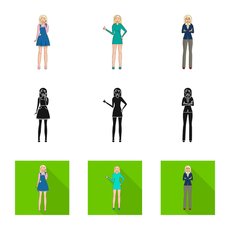 Vector illustration of posture and mood symbol. Set of posture and female vector icon for stock.