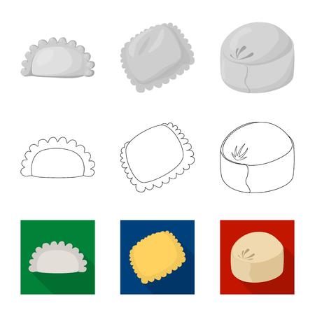 Vector illustration of products  and cooking logo. Collection of products  and appetizer stock symbol for web.