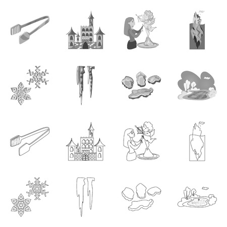 Isolated object of texture  and frozen  symbol. Set of texture  and transparent  stock vector illustration.