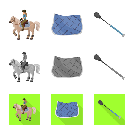 Isolated object of equipment and riding symbol. Set of equipment and competition stock vector illustration. Illustration